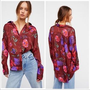 NWT Free People • Silky Nights Button Down Shirt